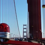 Over the Golden Gate in a genuine 50s fire engine!