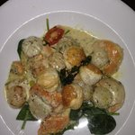 Pan fried scallops in creamy cheese sauce