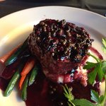 Filet with port peppercorn sauce- $33 for complete heaven