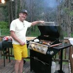 The Grill Master cooking up gourmet burgers - cabin #10