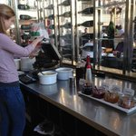 Great breakfast:  waffle-making area.