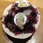 Oysters with apple ice and wasabi