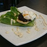 Black pudding and poached egg ceasar