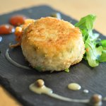 Fish Cake with Chilli Gel, Carrot and Red Pepper Remolade