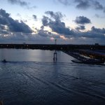 Cruise port at Galveston, view from cruise ship early in the a.m.