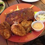 Half rack of smoked ribs and smoked southern fried chicken