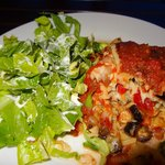 Delicious, Vegetable Lasagna with lettuce & dressing.