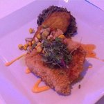 Panko crusted snapper with a sweet chili sauce and a side of platanos and moro