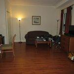 Sofa, desk, refrigerator, chest and TV