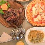 Bistecca Florentina, pizza margarita and tagliatelle pasta with porcini mushrooms! Delicious! Th
