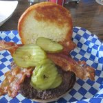 Bacon Hamburger with Fried onions and pickles