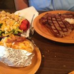 T-Bone dinner, with salad and loaded potato