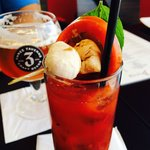 Awesome Bloody Mary with Mozz Balls!!