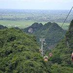 Swiss lift to mountain top view of Hanoi far away