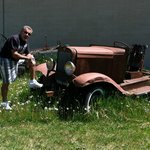 My husband found an old rusty vehicle on the museum property