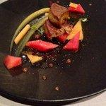 Foie poêlé, pastèque et melon