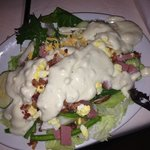 Fully loaded plate, plenty of Blue Cheese dressing