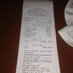 Harrys Steakhouse receipt