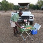 Engilbert making sundowners on our first evening drie