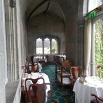 A small part of the breakfast area with vaulted ceilings.