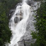 Water cascading over bare rock