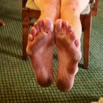 My feet after walking on the Pres suite carpet