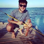 Spear fishing in the coral reed near Waterfoot Caye in Belize - Yok Ha Resort