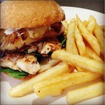 Chicken burger and chips.