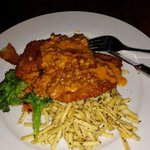 Schnitzel with Spaetzle noodles and paprika and chorizo cream sauce.