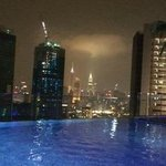View from rooftop pool at night