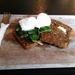Poached Eggs and Spinach on Rye