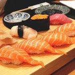 Salmon nigiri, uni, toro