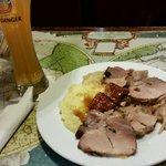 Schweinebraten with mashed potatoes and sauerkraut