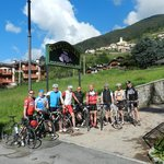 Outside the hotel - preparing to climb the Gavia Pass