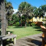 View of the grounds between guesthouses and the beach