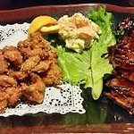 TEISHOKU (Two Item Dinner Plate Combination Dinner) - Sesame Fried Chicken and Beef Teriyaki