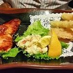 TEISHOKU (Two Item Dinner Plate Combination Dinner) - Grilled Salmon Teriyaki and Tempura (Shrim