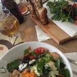 chicken salad and skewered chicken