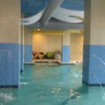 indoor pool that had water spouts in the columns really cool the doors pulled wide open too