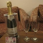 We got a bottle of sparkling wine when we arrived (because of our wedding aniversary)