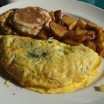 The National Omelet (Cheese, Spinach, and Sausage) with Home Fries and Eng. Muffin.