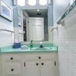 Upstairs bathroom, entrance from guest hallway.  Each 2 upstairs guestrooms share a full size ba