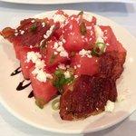 Watermelon, feta and bacon salad