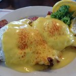 Mr. Bee's Famous Sausage and Bacon Benedict