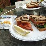 Delicious smoked salmon sandwich