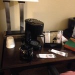 In-room coffee maker ignored by housekeeping.