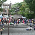 the steps on the eastern side are a great gathering spot