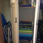 Community closet has donated items from travelers. I borrowed some chairs and a boogie board