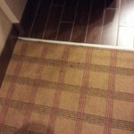The rug could use vacuumed and cleaned, this is in the room at the entry way