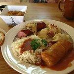 The Sampler Platter, Stuffed Cabbage, Kielbasa and mashed potatoes